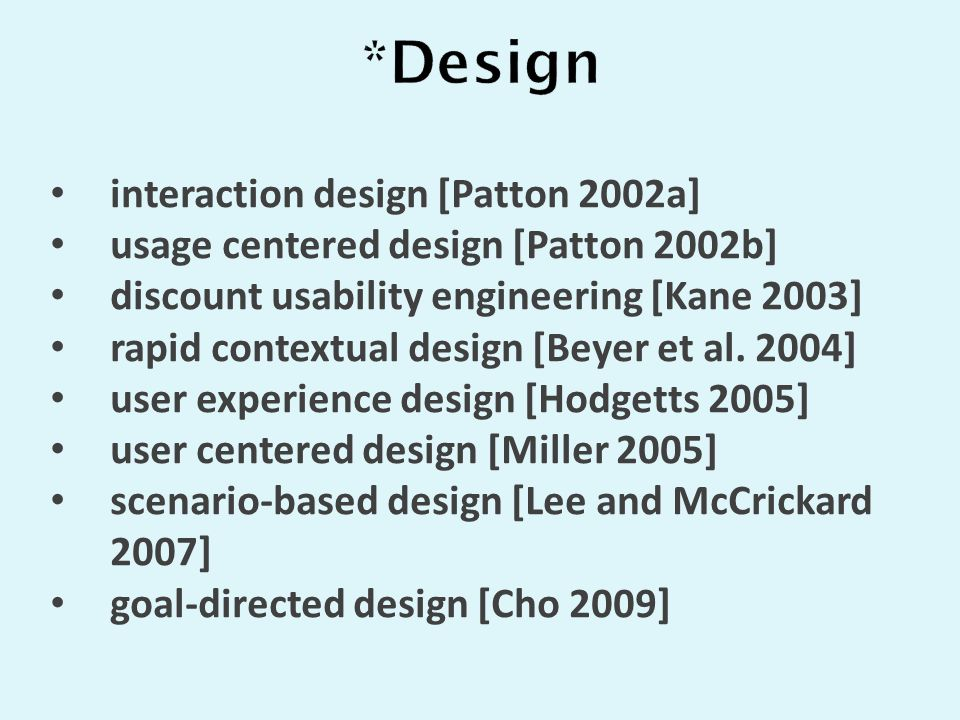 interaction design [Patton 2002a] usage centered design [Patton 2002b] discount usability engineering [Kane 2003] rapid contextual design [Beyer et al