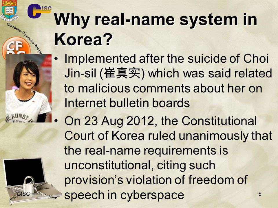 Why real-name system in Korea.