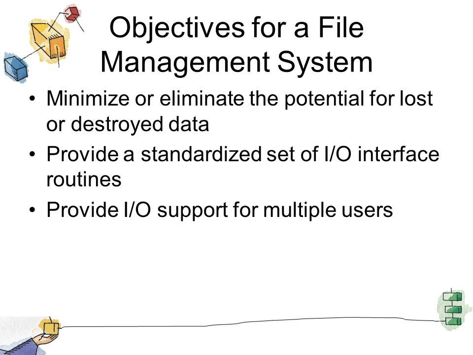 Objectives for a File Management System Minimize or eliminate the potential for lost or destroyed data Provide a standardized set of I/O interface rou