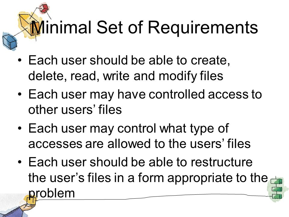 Minimal Set of Requirements Each user should be able to create, delete, read, write and modify files Each user may have controlled access to other use