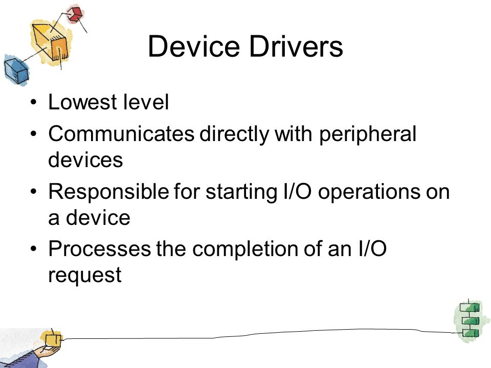 Device Drivers Lowest level Communicates directly with peripheral devices Responsible for starting I/O operations on a device Processes the completion