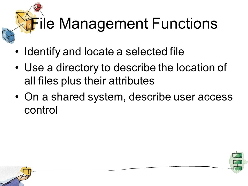 File Management Functions Identify and locate a selected file Use a directory to describe the location of all files plus their attributes On a shared