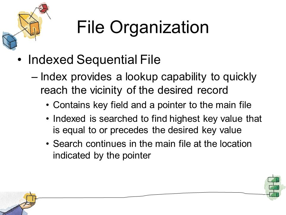 File Organization Indexed Sequential File –Index provides a lookup capability to quickly reach the vicinity of the desired record Contains key field a