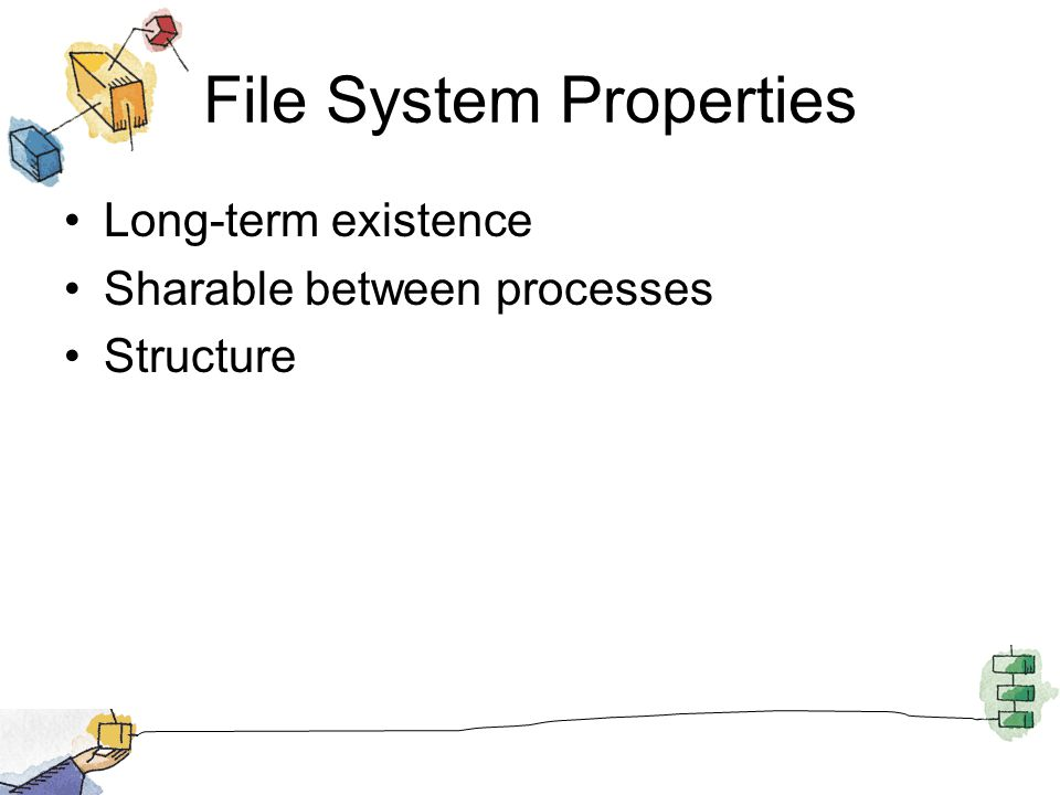 File System Properties Long-term existence Sharable between processes Structure