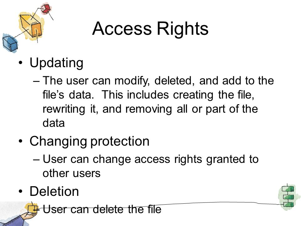 Access Rights Updating –The user can modify, deleted, and add to the file's data. This includes creating the file, rewriting it, and removing all or p