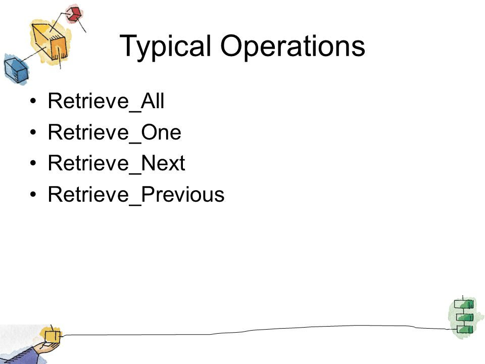 Typical Operations Retrieve_All Retrieve_One Retrieve_Next Retrieve_Previous