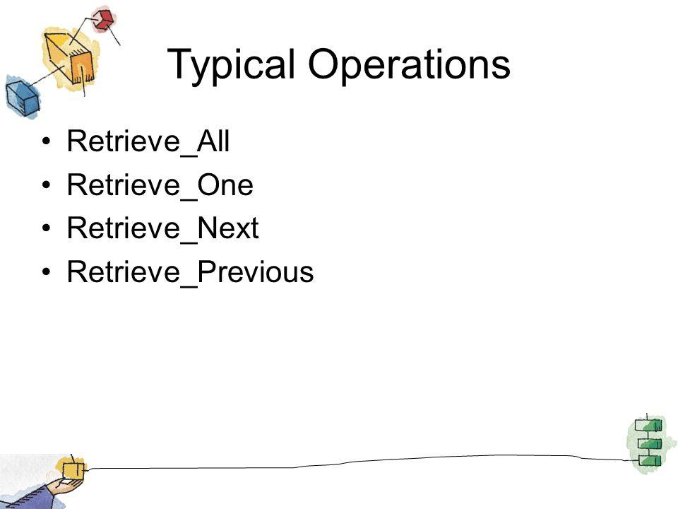 Typical Operations Retrieve_All Retrieve_One Retrieve_Next Retrieve_Previous