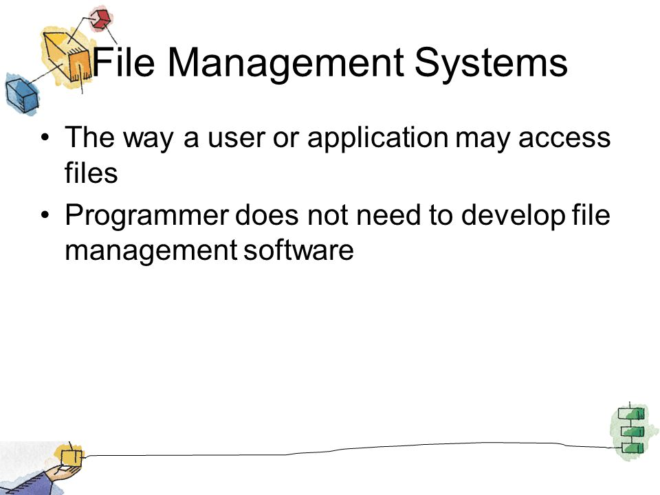 File Management Systems The way a user or application may access files Programmer does not need to develop file management software