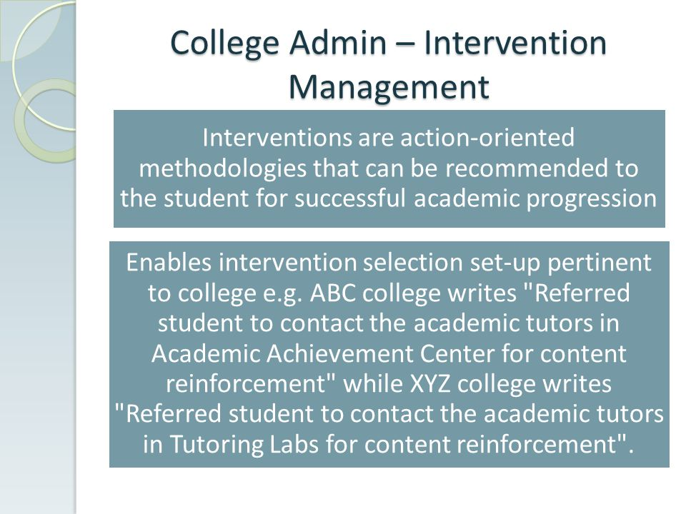 College Admin – Intervention Management Interventions are action-oriented methodologies that can be recommended to the student for successful academic progression Enables intervention selection set-up pertinent to college e.g.