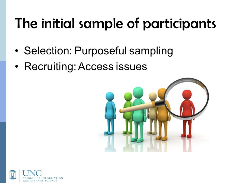 The initial sample of participants Selection: Purposeful sampling Recruiting: Access issues