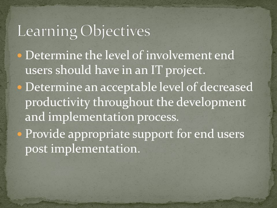 Determine the level of involvement end users should have in an IT project.