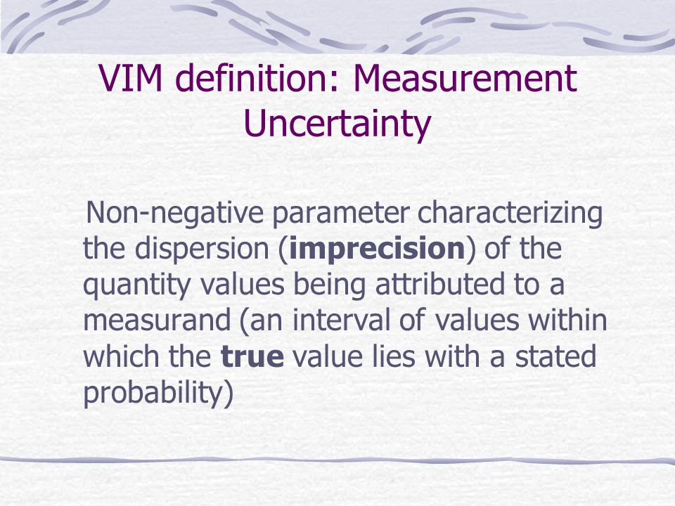 VIM definition: Trueness Closeness of agreement between the average of an infinite number of replicate measured quantity values and a reference quantity value (in absence of reference method the difference between specified methods)