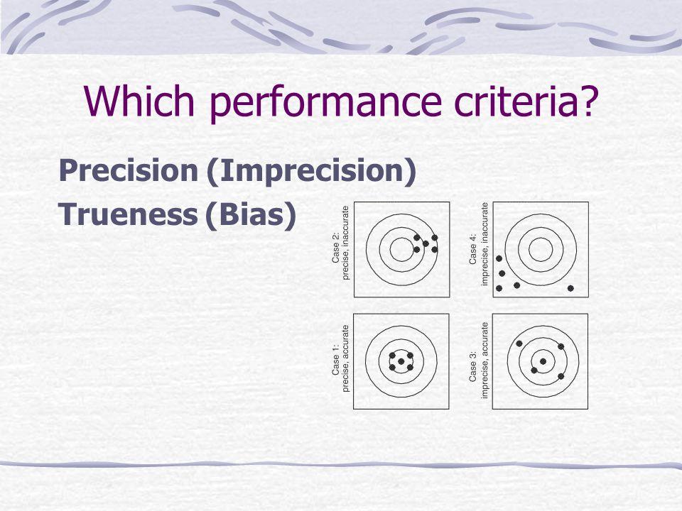 Which performance criteria Precision (Imprecision) Trueness (Bias)