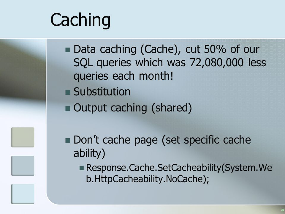 Caching Data caching (Cache), cut 50% of our SQL queries which was 72,080,000 less queries each month.