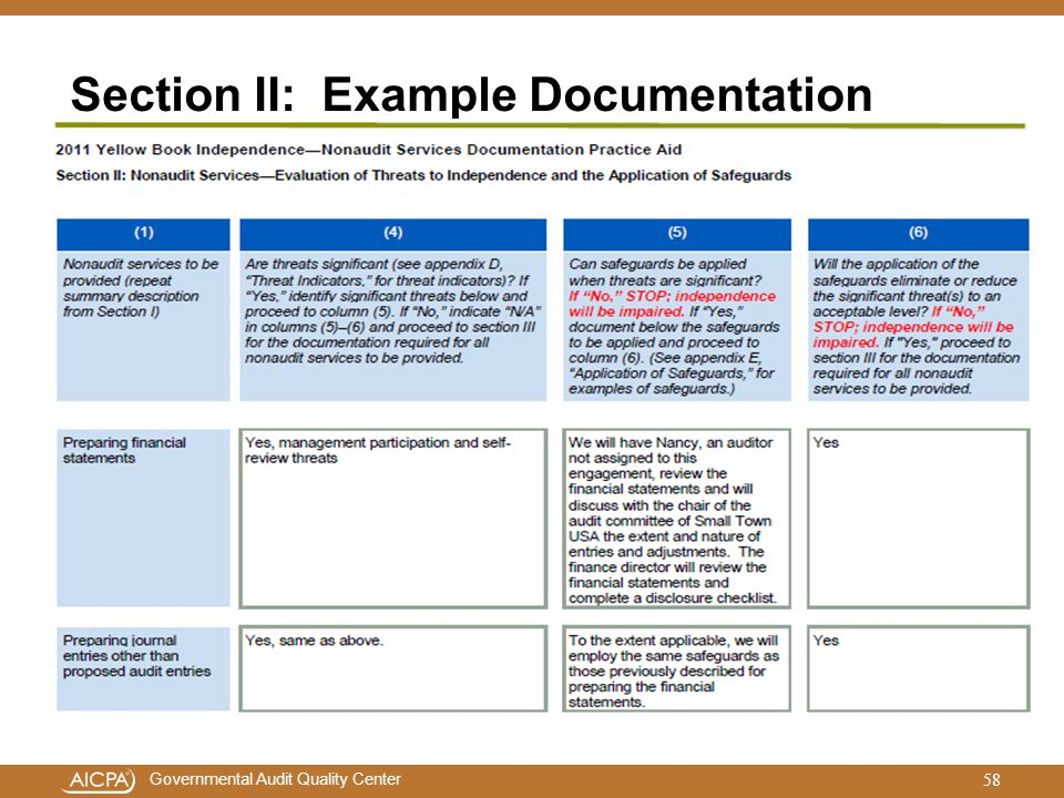 Governmental Audit Quality Center Section II: Example Documentation 58