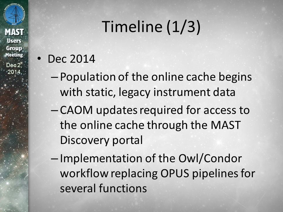 Dec 2, 2014 Timeline (1/3) Dec 2014 – Population of the online cache begins with static, legacy instrument data – CAOM updates required for access to