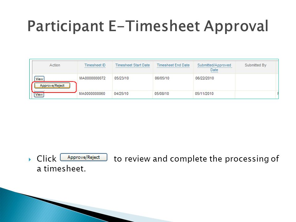 Participant E-Timesheet Approval  Click to review and complete the processing of a timesheet.