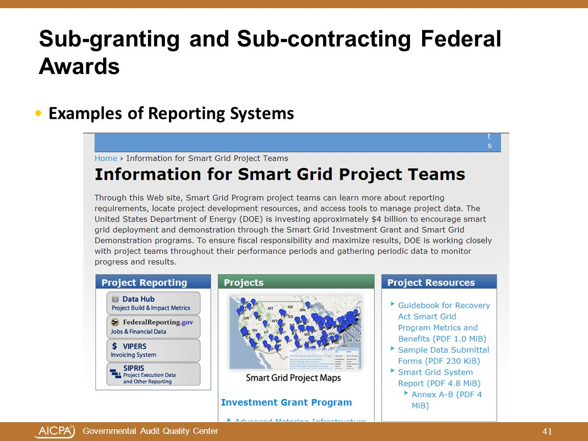 Governmental Audit Quality Center Sub-granting and Sub-contracting Federal Awards 41 Examples of Reporting Systems