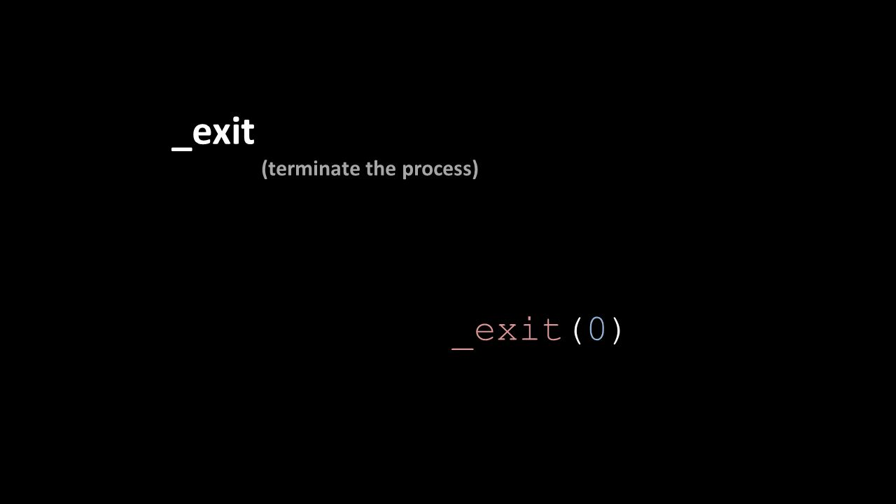 _exit (terminate the process) _exit(0)