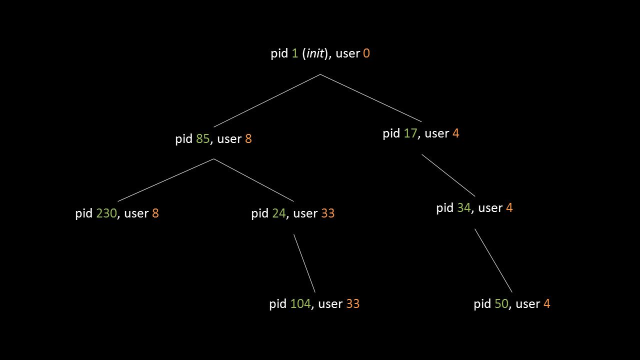 pid 1 (init), user 0 pid 85, user 8 pid 17, user 4 pid 24, user 33pid 230, user 8 pid 104, user 33 pid 34, user 4 pid 50, user 4