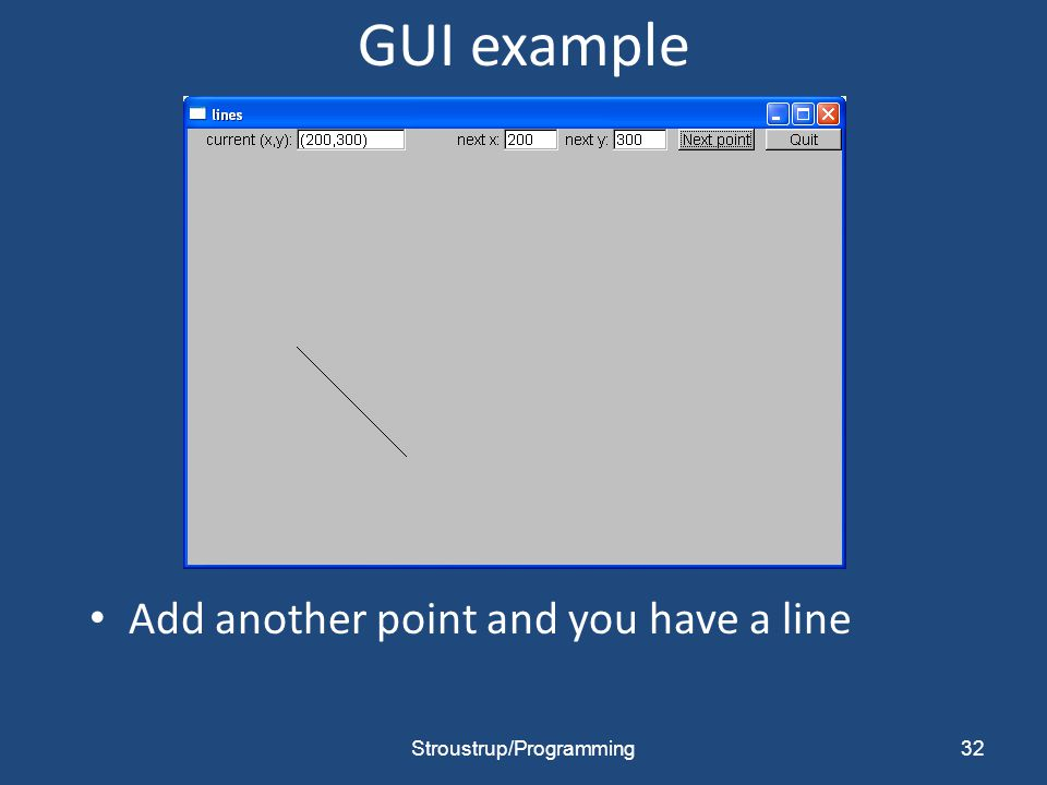 GUI example Add another point and you have a line 32Stroustrup/Programming