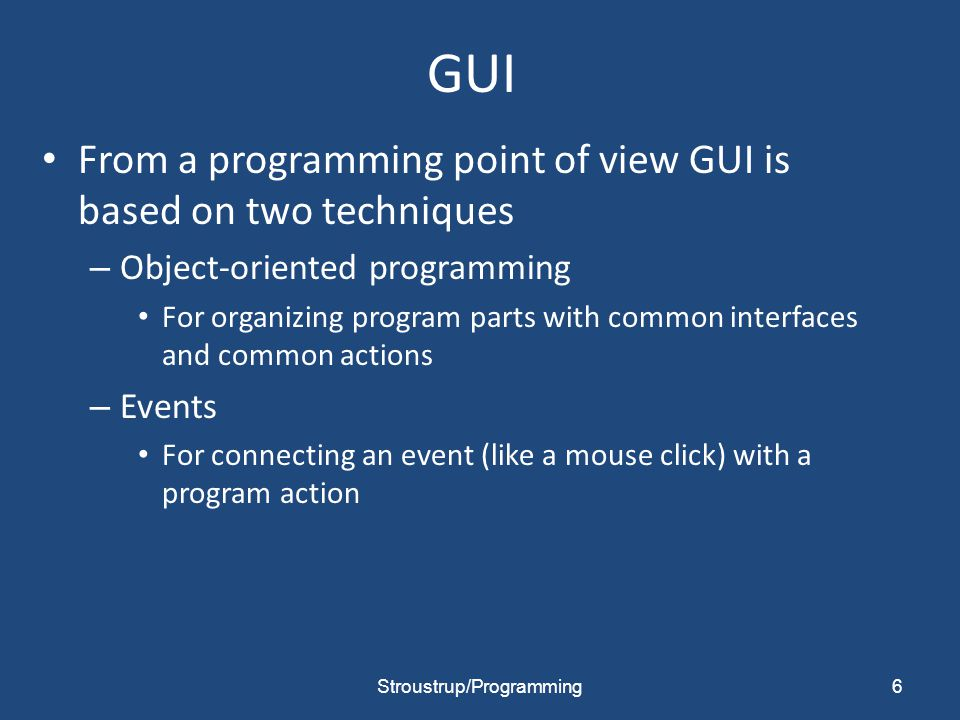 Our action code // The action itself is simple enough to write void Lines_window::quit() { // here we can do just about anything with the Lines_window hide();// peculiar FLTK idiom for get rid of this window } 37Stroustrup/Programming