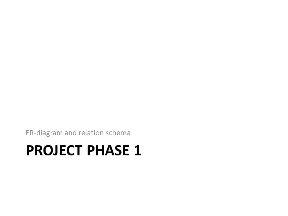 PROJECT PHASE 1 ER-diagram and relation schema