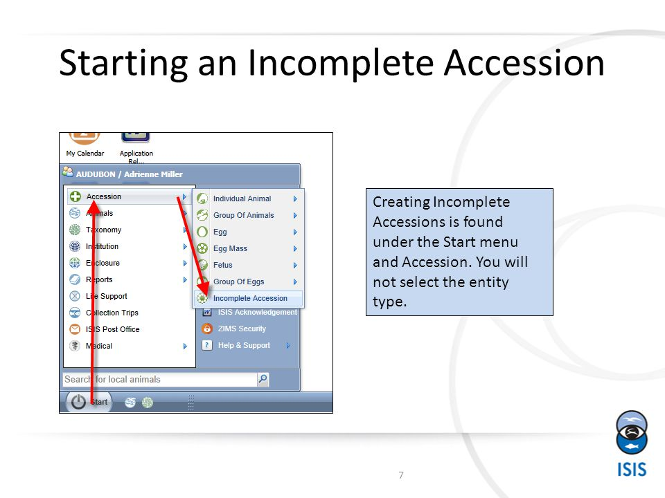 The Flow for Single Incomplete Accession into Multiple Complete Accessions 18 Single Incomplete Accession created Record the first Full Accession After Save do NOT choose to Associate with the Incomplete Accession Record the remaining three Complete Accessions.