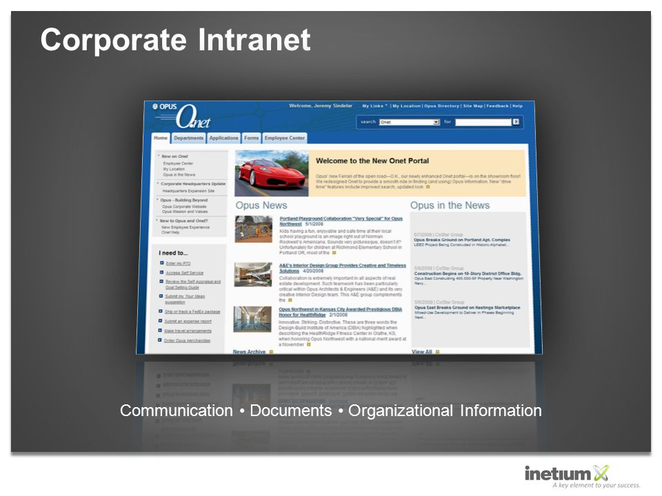 Corporate Intranet Communication Documents Organizational Information