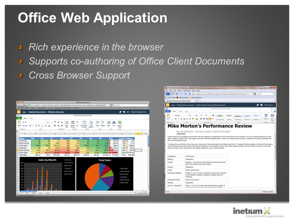 Rich experience in the browser Supports co-authoring of Office Client Documents Cross Browser Support Office Web Application