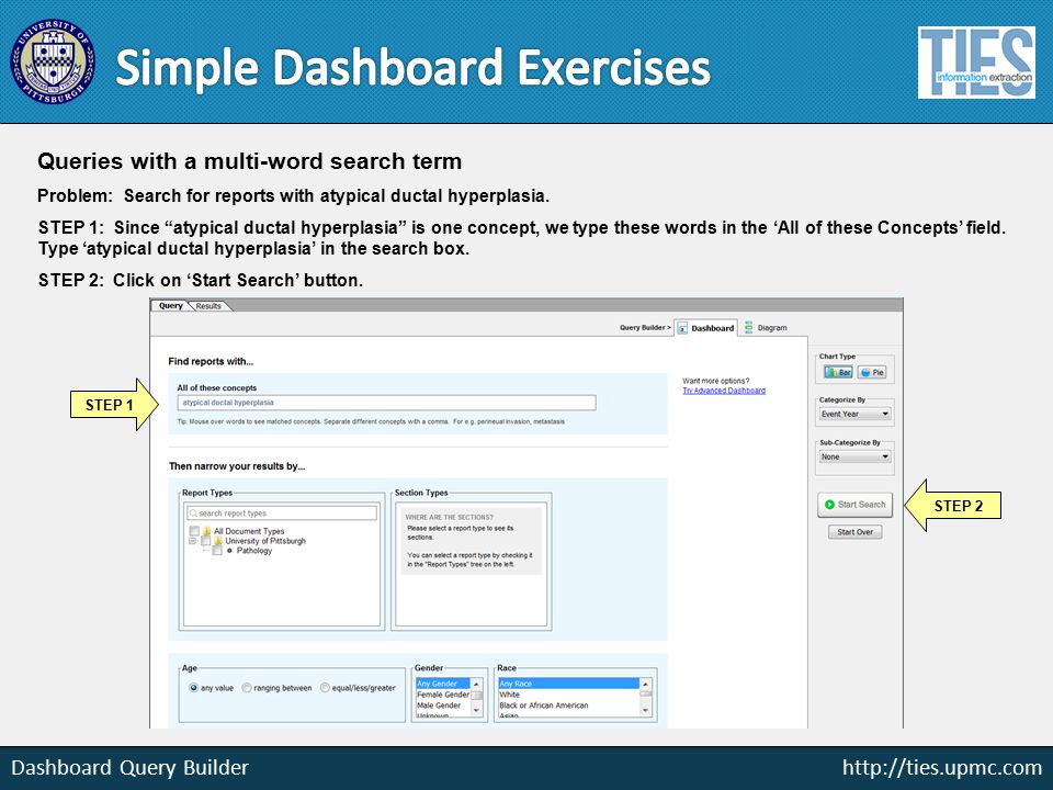 http://ties.upmc.com Dashboard Query Builder Queries with a multi-word search term Problem: Search for reports with atypical ductal hyperplasia.