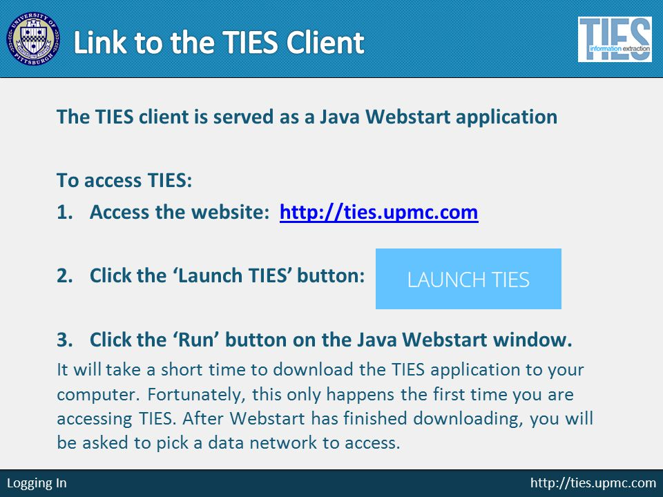 http://ties.upmc.com Diagram Query Builder Solution: