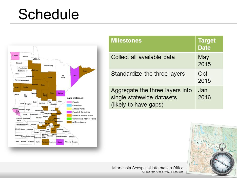 Minnesota Geospatial Information Office A Program Area of MN.IT Services Schedule MilestonesTarget Date Collect all available dataMay 2015 Standardize