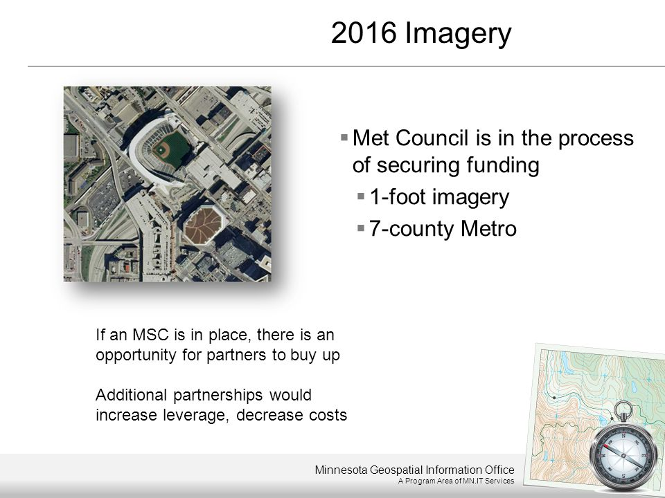 Minnesota Geospatial Information Office A Program Area of MN.IT Services  Met Council is in the process of securing funding  1-foot imagery  7-coun