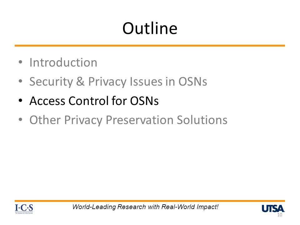 Outline Introduction Security & Privacy Issues in OSNs Access Control for OSNs Other Privacy Preservation Solutions 10 World-Leading Research with Real-World Impact!