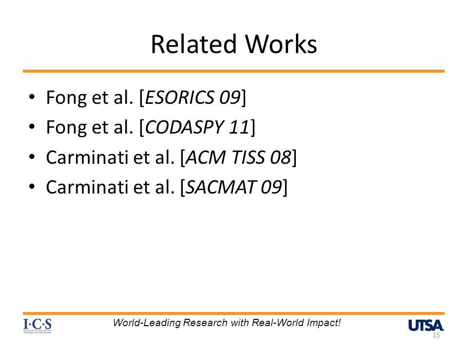 Related Works Fong et al. [ESORICS 09] Fong et al. [CODASPY 11] Carminati et al. [ACM TISS 08] Carminati et al. [SACMAT 09] 15 World-Leading Research