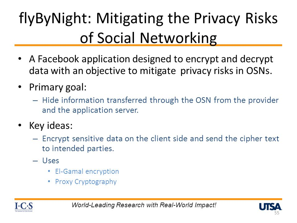 flyByNight: Mitigating the Privacy Risks of Social Networking A Facebook application designed to encrypt and decrypt data with an objective to mitigate privacy risks in OSNs.