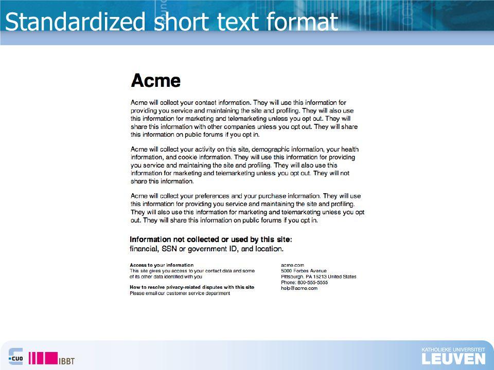 Standardized short text format