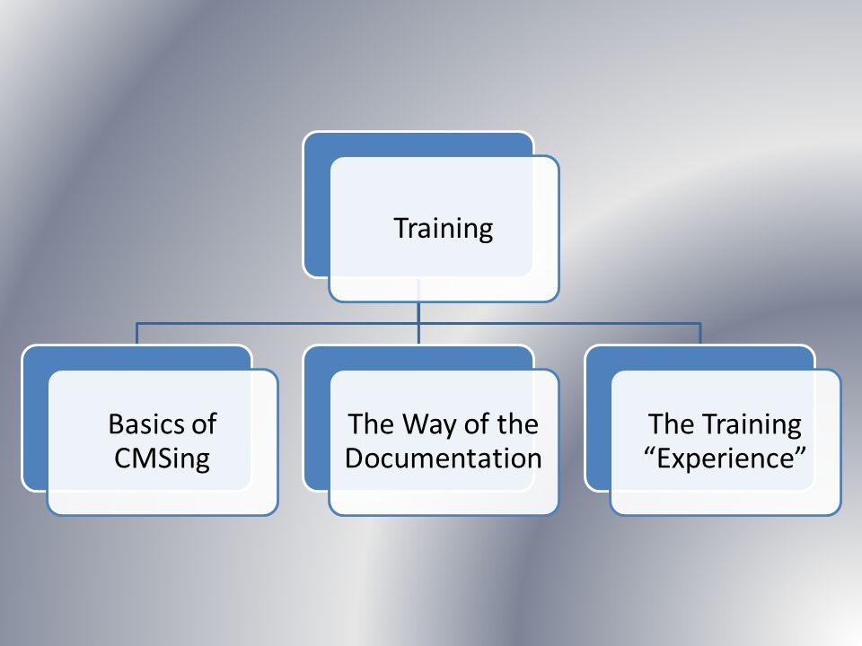 Training Basics of CMSing The Way of the Documentation The Training Experience