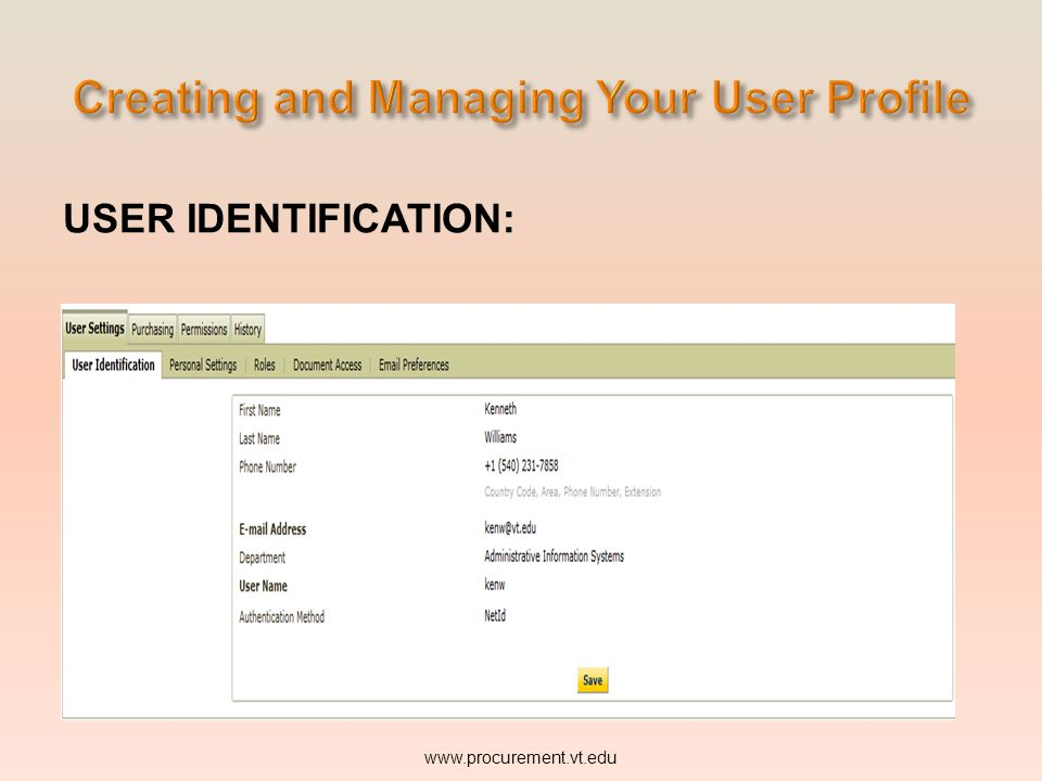USER IDENTIFICATION: www.procurement.vt.edu