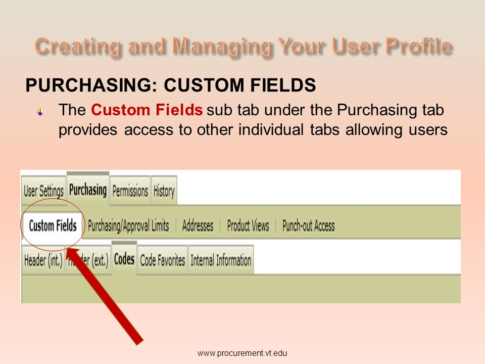 PURCHASING: CUSTOM FIELDS The Custom Fields sub tab under the Purchasing tab provides access to other individual tabs allowing users www.procurement.vt.edu