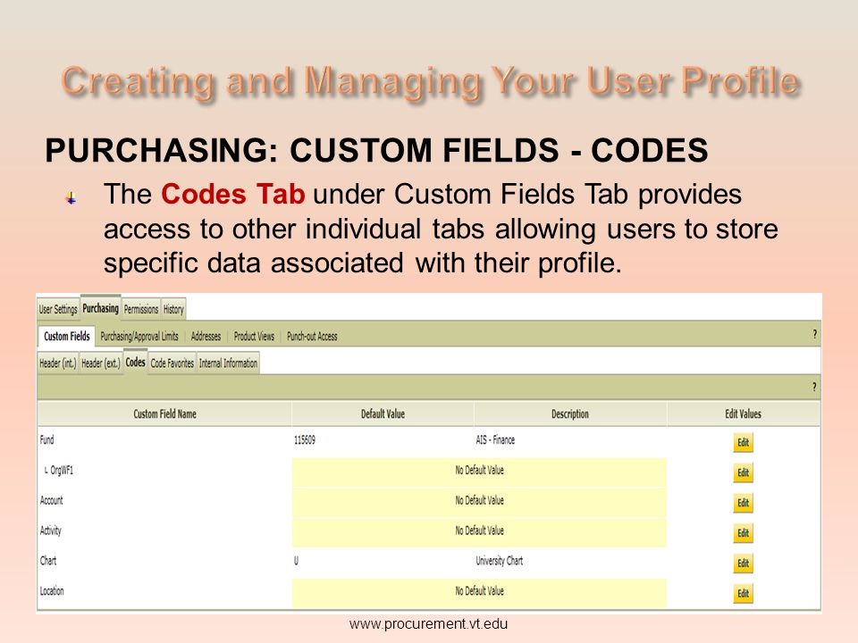 PURCHASING: CUSTOM FIELDS - CODES The Codes Tab under Custom Fields Tab provides access to other individual tabs allowing users to store specific data associated with their profile.