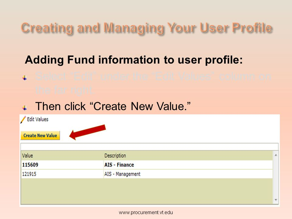 Adding Fund information to user profile: Select Edit under the Edit Values column on the far right.