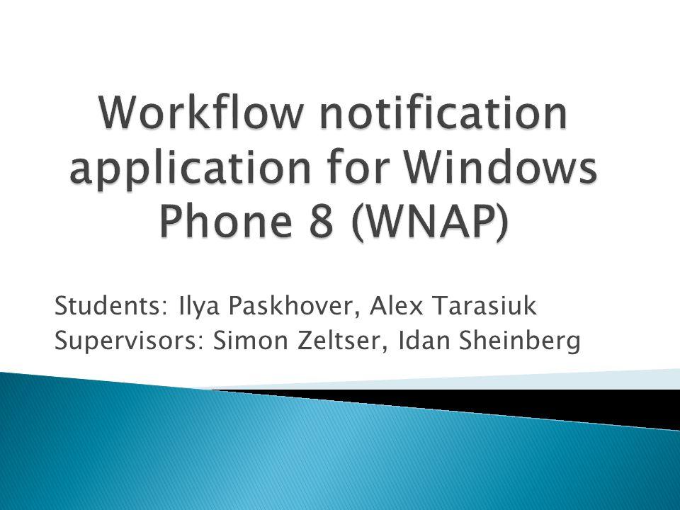 Students: Ilya Paskhover, Alex Tarasiuk Supervisors: Simon Zeltser, Idan Sheinberg