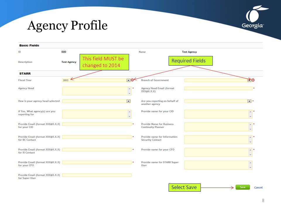 Agency Profile 7 The questionnaire opens in the Profile view Click on Edit button to update information including the FY This field MUST be changed to 2014
