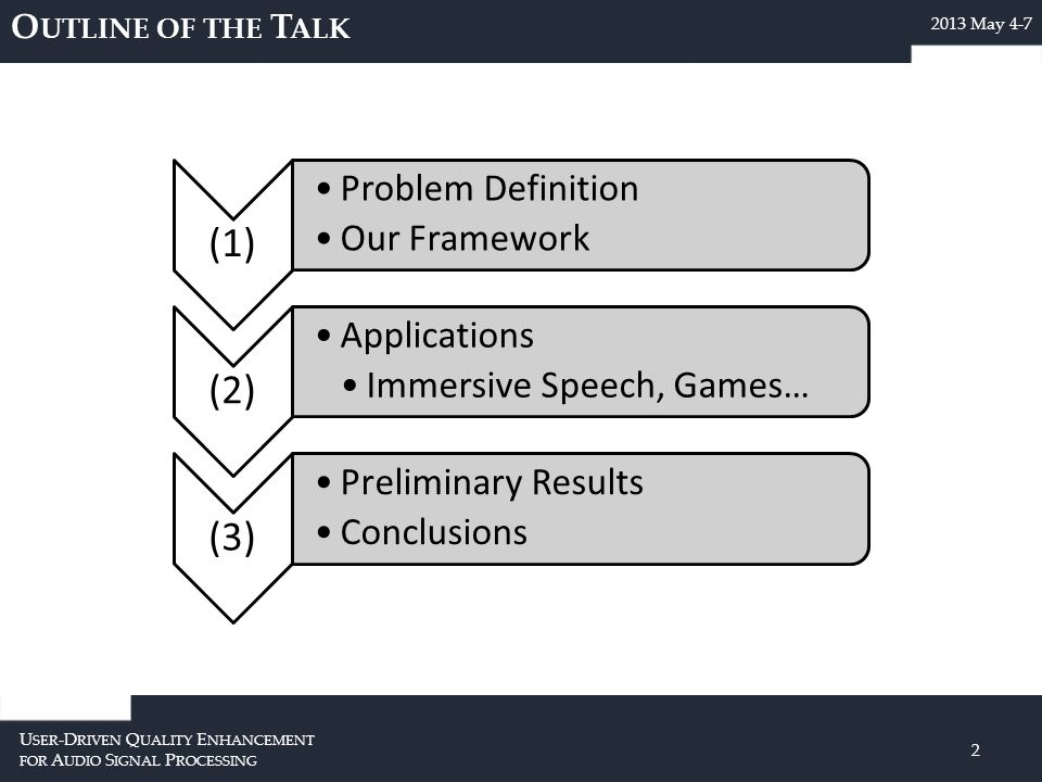 O UTLINE OF THE T ALK U SER -D RIVEN Q UALITY E NHANCEMENT FOR A UDIO S IGNAL P ROCESSING 2 2013 May 4-7 (1) Problem Definition Our Framework (2) Applications Immersive Speech, Games… (3) Preliminary Results Conclusions