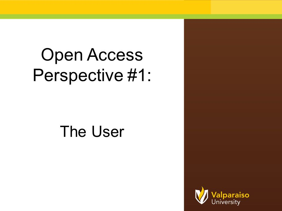 Open Access Perspective #1: The User