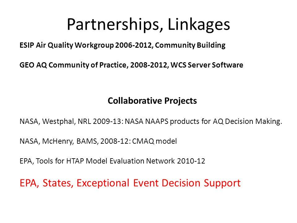 Partnerships, Linkages Collaborative Projects NASA, Westphal, NRL 2009-13: NASA NAAPS products for AQ Decision Making. NASA, McHenry, BAMS, 2008-12: C