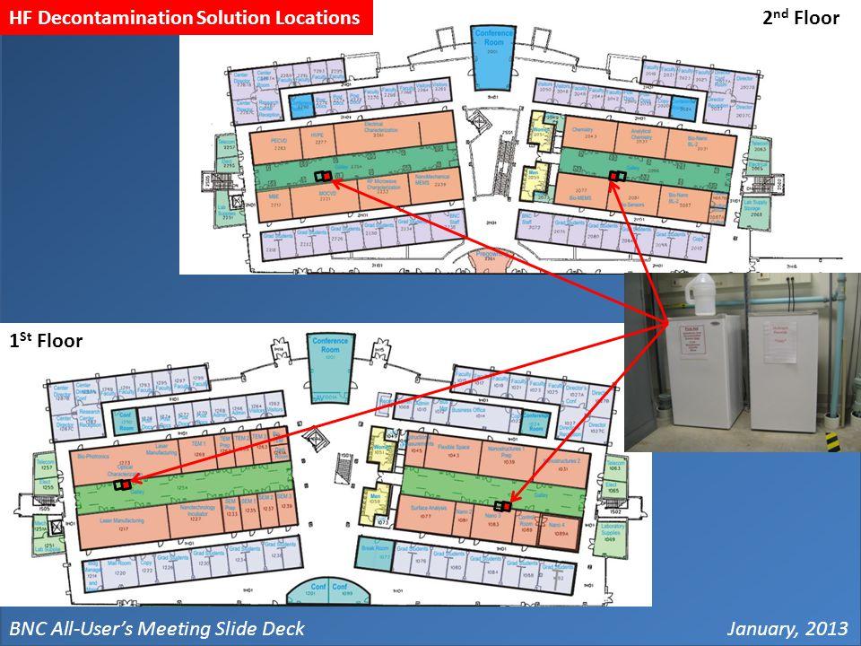 BNC All-User's Meeting Slide DeckJanuary, 2013 2 nd Floor 1 St Floor HF Decontamination Solution Locations