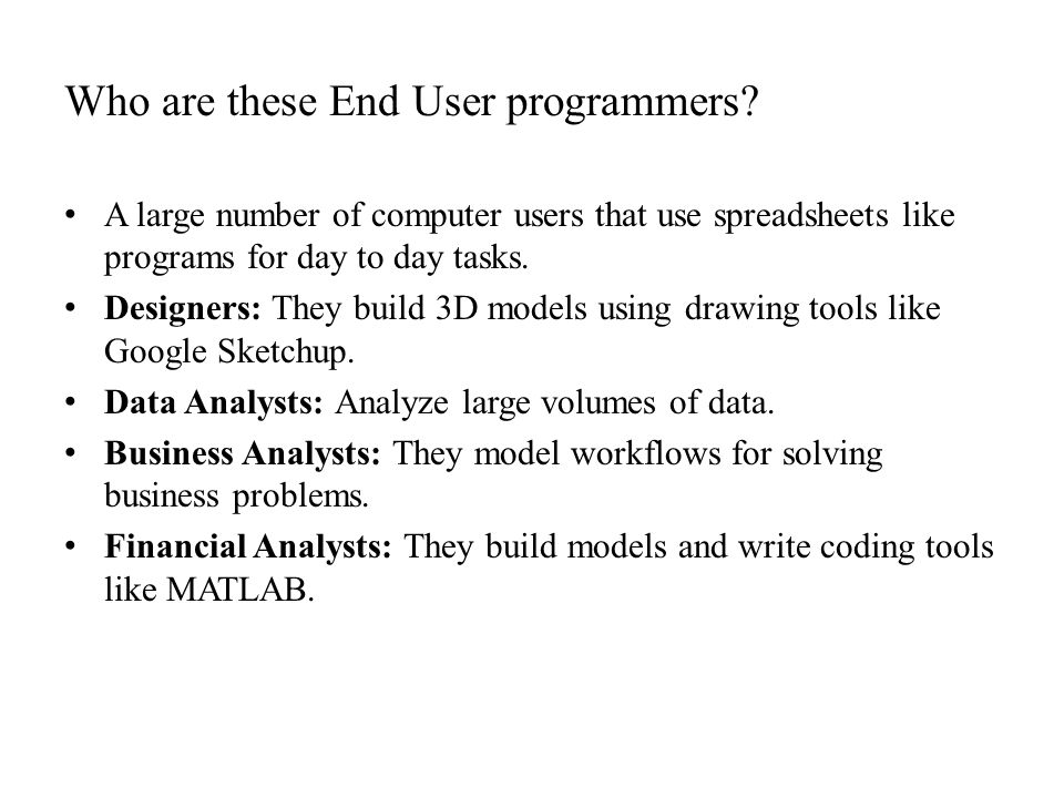 Who are these End User programmers.
